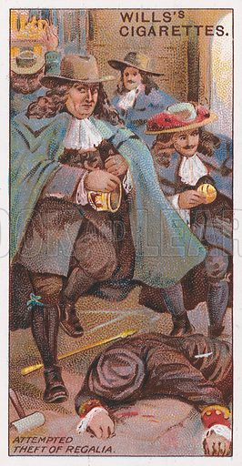 Attempted Theft of Regalia. Illustration for the Wills's Cigarettes series of Coronation Cards, 1911.