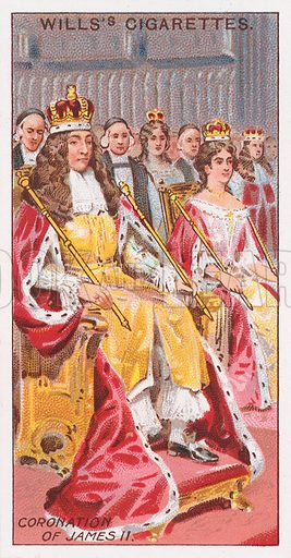 Coronation of James II. Illustration for the Wills's Cigarettes series of Coronation Cards, 1911.