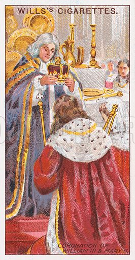 Coronation of William III & Mary II. Illustration for the Wills's Cigarettes series of Coronation Cards, 1911.