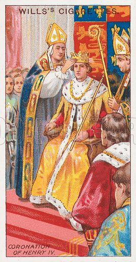 Coronation of Henry IV. Illustration for the Wills's Cigarettes series of Coronation Cards, 1911.