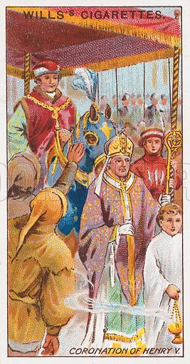 Coronation of Henry V. Illustration for the Wills's Cigarettes series of Coronation Cards, 1911.