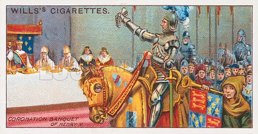 Coronation Banquet of Henry V. Illustration for the Wills's Cigarettes series of Coronation Cards, 1911.