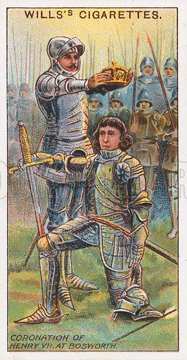 Coronation of Henry VII at Bosworth. Illustration for the Wills's Cigarettes series of Coronation Cards, 1911.