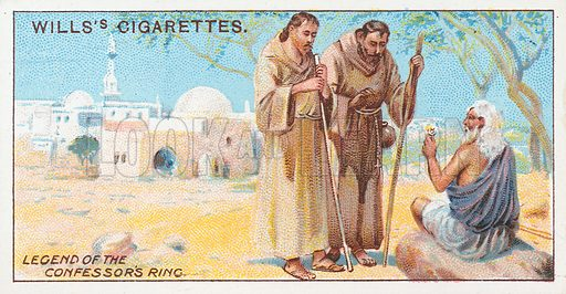 Legend of the Confessor's Ring. Illustration for the Wills's Cigarettes series of Coronation Cards, 1911.