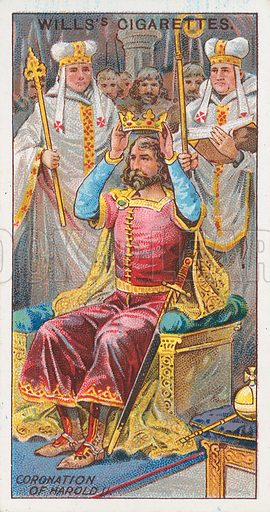 Coronation of Harold II. Illustration for the Wills's Cigarettes series of Coronation Cards, 1911.