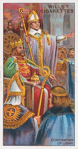 Coronation of John. Illustration for the Wills's Cigarettes series of Coronation Cards, 1911.