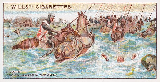 Loss of Crown Jewels in the Wash. Illustration for the Wills's Cigarettes series of Coronation Cards, 1911.