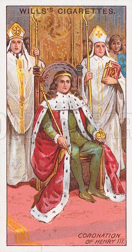 Coronation of Henry III. Illustration for the Wills's Cigarettes series of Coronation Cards, 1911.