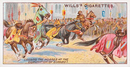 Loosing the Horses at the Coronation of Edward I. Illustration for the Wills's Cigarettes series of Coronation Cards, 1911.