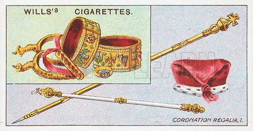 Coronation Regalia, 1. Illustration for the Wills's Cigarettes series of Coronation Cards, 1911.