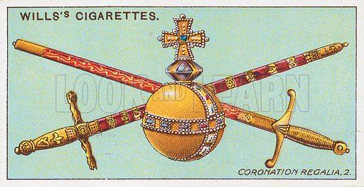 Coronation Regalia, 2. Illustration for the Wills's Cigarettes series of Coronation Cards, 1911.