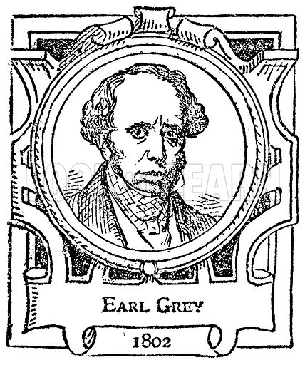 Earl Grey. Illustration for The Portrait Birthday-Book (Seely, c 1870).