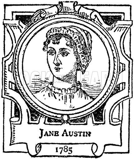 Jane Austin. Illustration for The Portrait Birthday-Book (Seely, c 1870).