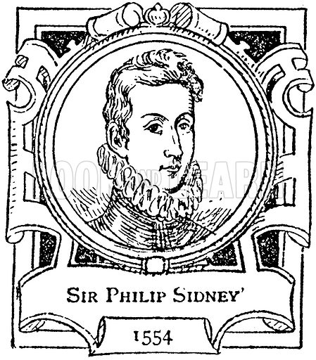 Sir Philip Sidney. Illustration for The Portrait Birthday-Book (Seely, c 1870).