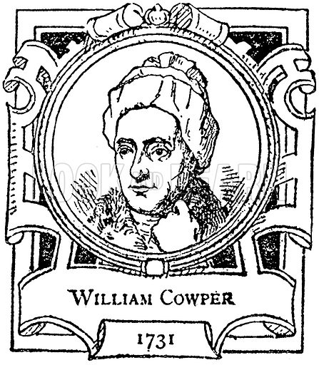 William Cowper. Illustration for The Portrait Birthday-Book (Seely, c 1870).