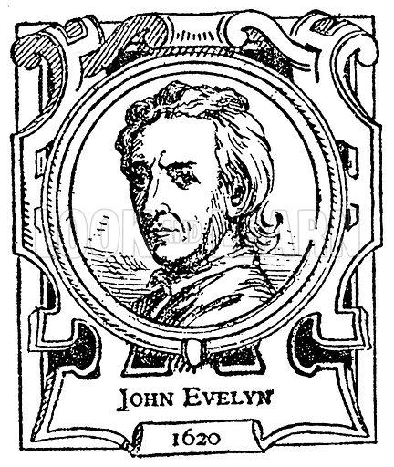 John Evelyn. Illustration for The Portrait Birthday-Book (Seely, c 1870).