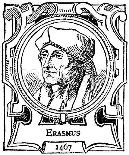 Erasmus. Illustration for The Portrait Birthday-Book (Seely, c 1870).