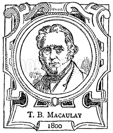 T. B. Macaulay. Illustration for The Portrait Birthday-Book (Seely, c 1870).