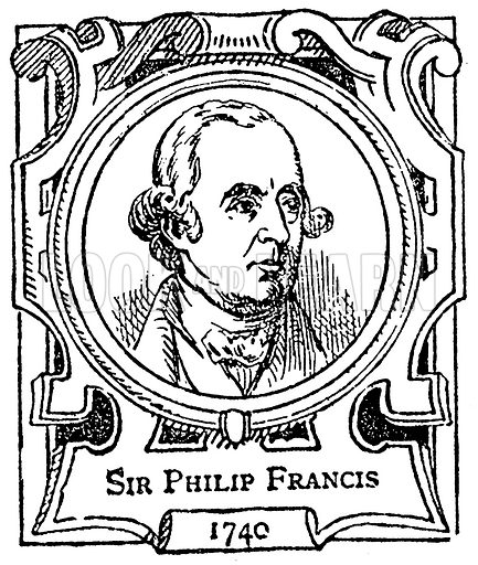 Sir Philip Francis. Illustration for The Portrait Birthday-Book (Seely, c 1870).