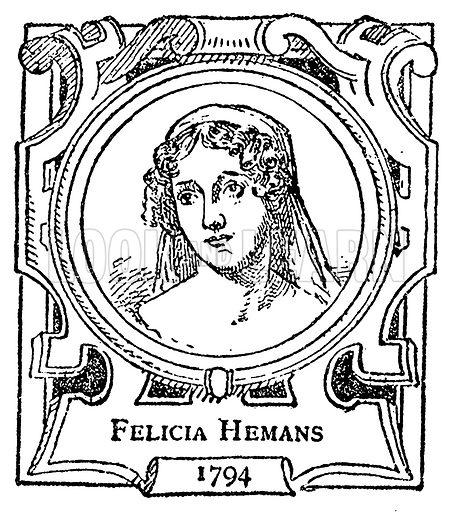 Felicia Hemans. Illustration for The Portrait Birthday-Book (Seely, c 1870).