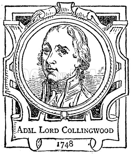 Adm. Lord Collingwood. Illustration for The Portrait Birthday-Book (Seely, c 1870).