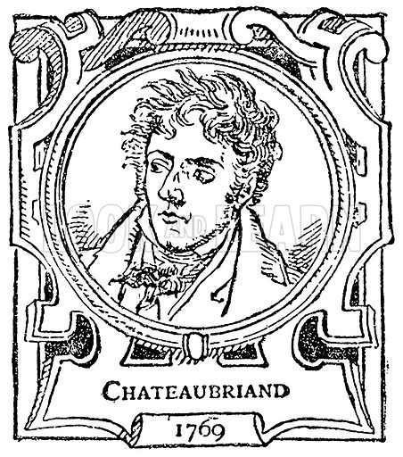 Chateaubriand. Illustration for The Portrait Birthday-Book (Seely, c 1870).