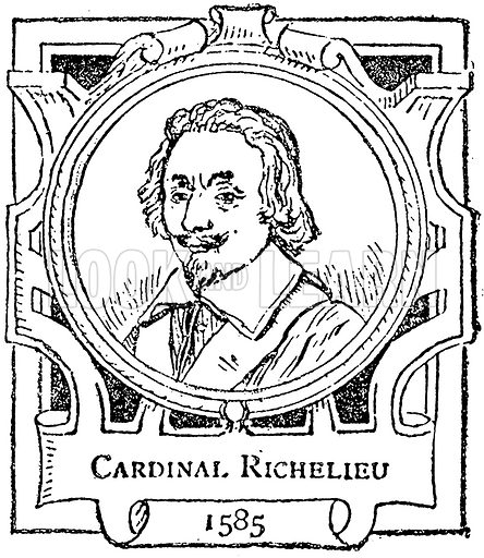 Cardinal Richelieu. Illustration for The Portrait Birthday-Book (Seely, c 1870).