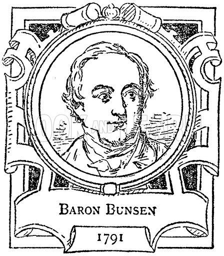 Baron Bunsen. Illustration for The Portrait Birthday-Book (Seely, c 1870).