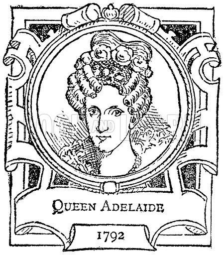 Queen Adelaide. Illustration for The Portrait Birthday-Book (Seely, c 1870).