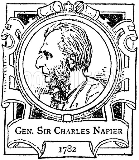 Gen Sir Charles Napier. Illustration for The Portrait Birthday-Book (Seely, c 1870).