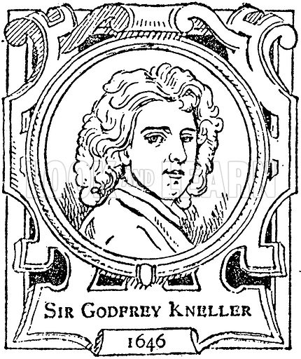 Sir Godfrey Kneller. Illustration for The Portrait Birthday-Book (Seely, c 1870).