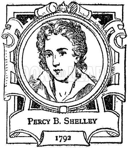 Percy B Shelley. Illustration for The Portrait Birthday-Book (Seely, c 1870).