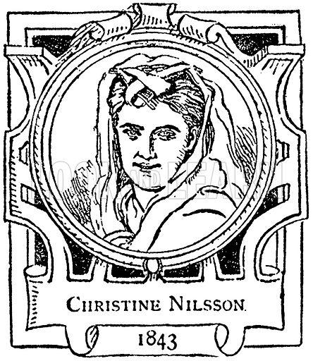 Christine Nilsson. Illustration for The Portrait Birthday-Book (Seely, c 1870).