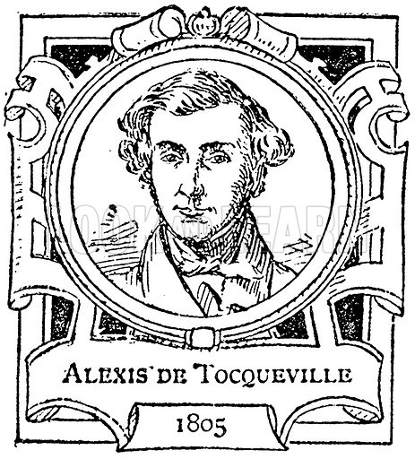 Alexis de Tocqueville. Illustration for The Portrait Birthday-Book (Seely, c 1870).