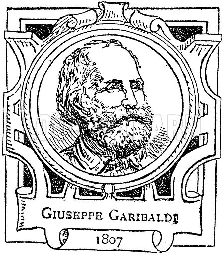 Giuseppe Garibaldi. Illustration for The Portrait Birthday-Book (Seely, c 1870).