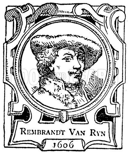 Rembrandt van Ryn. Illustration for The Portrait Birthday-Book (Seely, c 1870).