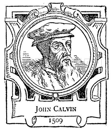 John Calvin. Illustration for The Portrait Birthday-Book (Seely, c 1870).