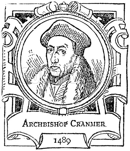 Archbishop Cranmer. Illustration for The Portrait Birthday-Book (Seely, c 1870).