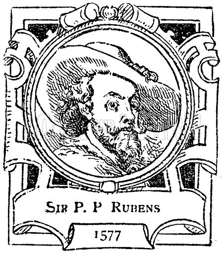 Sir P. P Rubens. Illustration for The Portrait Birthday-Book (Seely, c 1870).