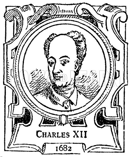 Charles XII. Illustration for The Portrait Birthday-Book (Seely, c 1870).
