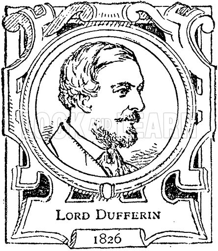 Lord Dufferin. Illustration for The Portrait Birthday-Book (Seely, c 1870).