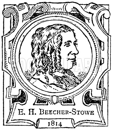 E. H. Beecher-Stowe. Illustration for The Portrait Birthday-Book (Seely, c 1870).