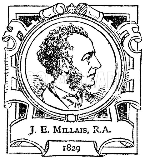 J. E. Millais, R.A. Illustration for The Portrait Birthday-Book (Seely, c 1870).