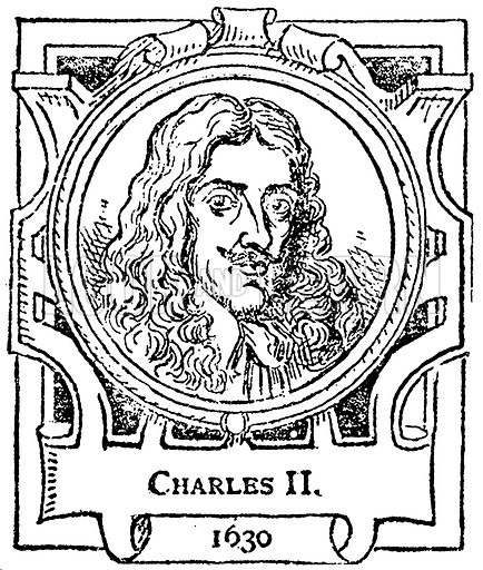 Charles II. Illustration for The Portrait Birthday-Book (Seely, c 1870).