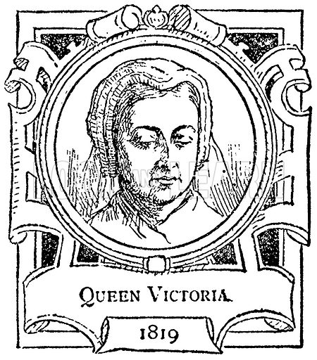 Queen Victoria. Illustration for The Portrait Birthday-Book (Seely, c 1870).