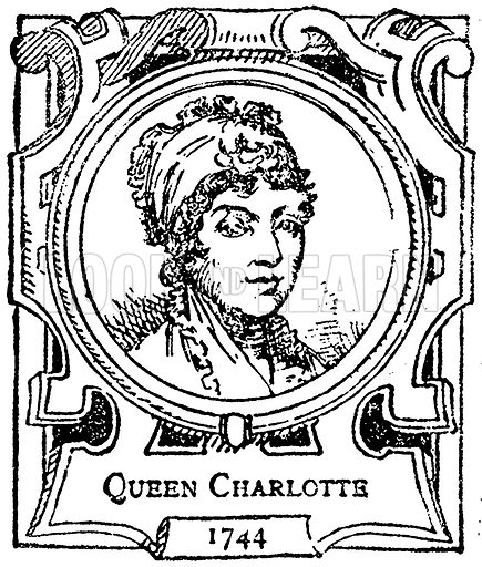 Queen Charlotte. Illustration for The Portrait Birthday-Book (Seely, c 1870).