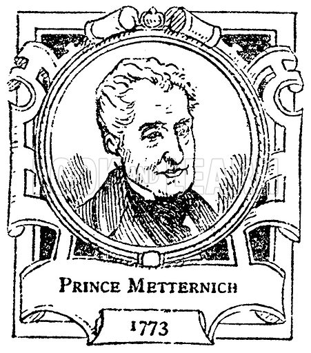 Prince Metternich. Illustration for The Portrait Birthday-Book (Seely, c 1870).