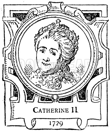 Catherine II. Illustration for The Portrait Birthday-Book (Seely, c 1870).