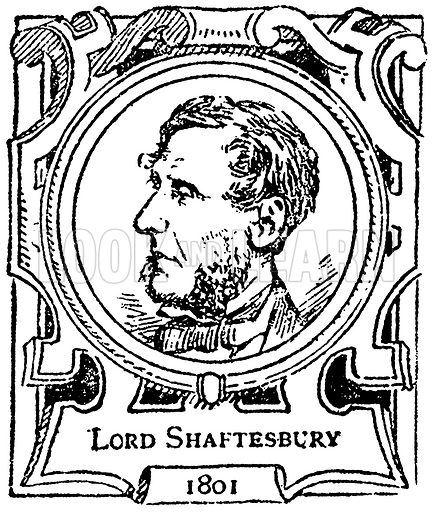 Lord Shaftesbury. Illustration for The Portrait Birthday-Book (Seely, c 1870).