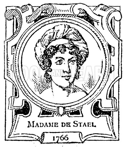 Madame de Stael. Illustration for The Portrait Birthday-Book (Seely, c 1870).